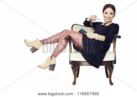 Laughing Woman On Armchair