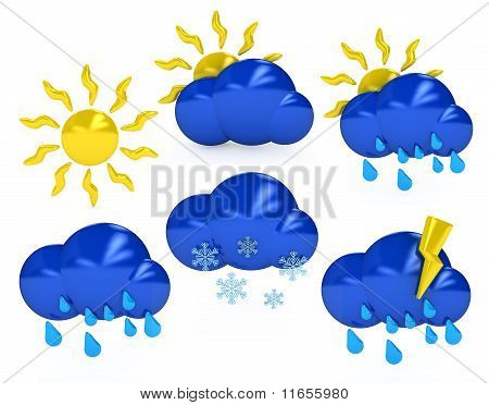 Weather Symbols Over White Background