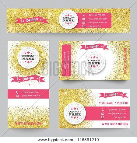 Set of identity templates with golden confetti theme. Vector