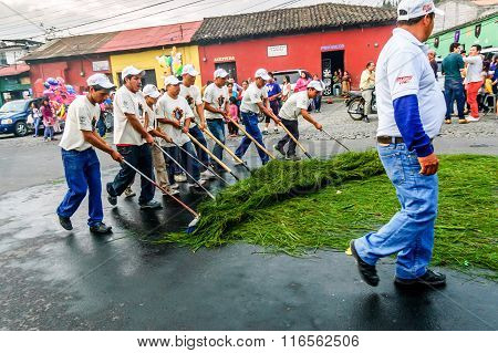 Street Cleaners After Holy Week Procession, Antigua, Guatemala