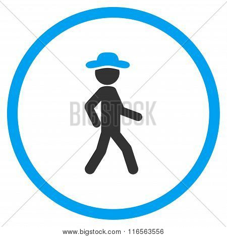 Walking Boy Rounded Icon