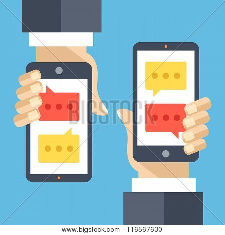 Texting flat illustration concept. Sms, instant messaging app, texting service
