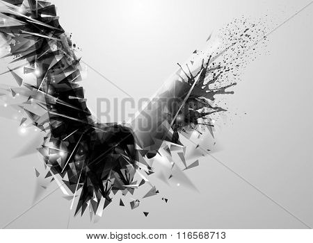 Geometric black abstract bird. Modern triangular formed by abstract expressive figure