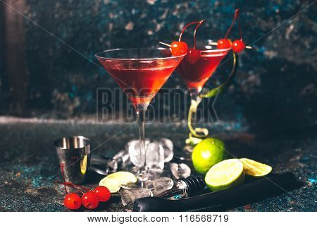 Alcoholic Cocktail With Vodka And Gin, Cosmopolitan Long Drink In Premium Glass. Vintage Effect