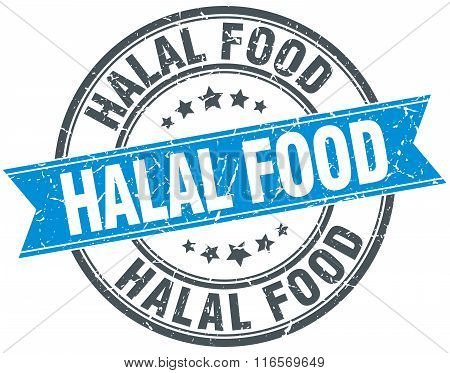 Halal Food Blue Round Grunge Vintage Ribbon Stamp