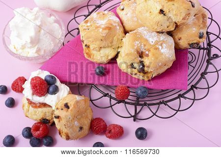 Fruit Scones With Berries And Cream