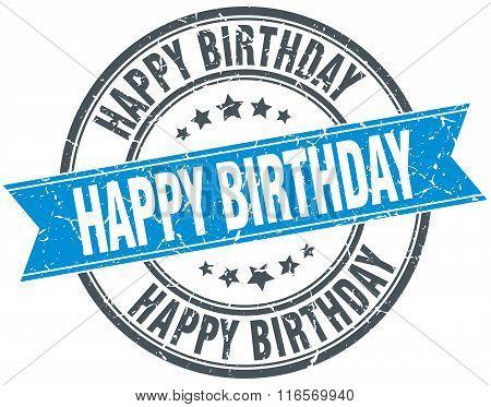 Happy Birthday Blue Round Grunge Vintage Ribbon Stamp
