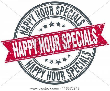 Happy Hour Specials Red Round Grunge Vintage Ribbon Stamp