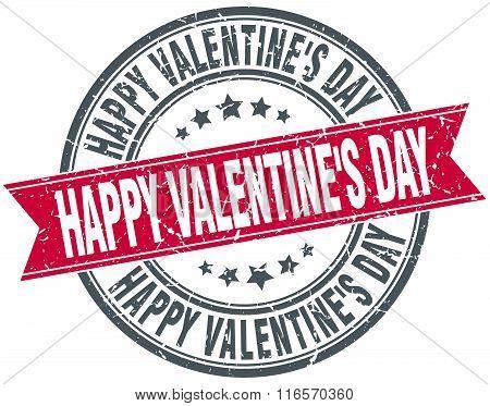 Happy Valentine's Day Red Round Grunge Vintage Ribbon Stamp