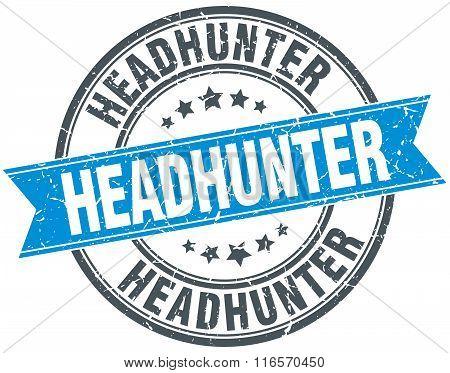 Headhunter Blue Round Grunge Vintage Ribbon Stamp
