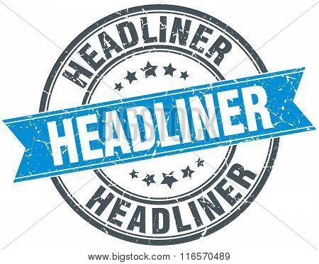 Headliner Blue Round Grunge Vintage Ribbon Stamp