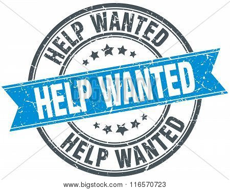 Help Wanted Blue Round Grunge Vintage Ribbon Stamp