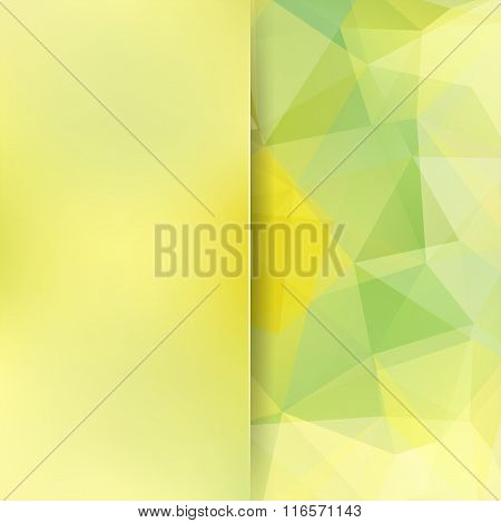 Background Made Of Triangles. Green, Yellow Colors. Square Composition With Geometric Shapes And Blu