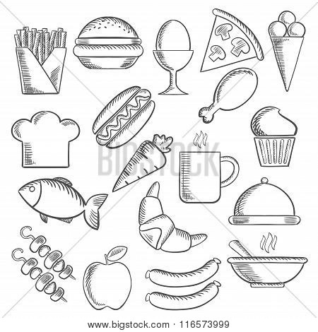 Food and snacks sketch icons