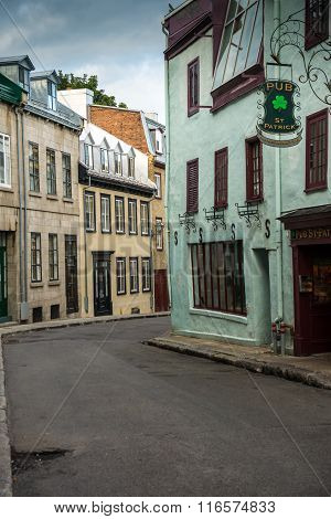 Quebec City Canada - Sept. 8 2015: Quebec's Old City is a UNESCO World Heritage Site that retains a European charm and style uncommon to the New World.