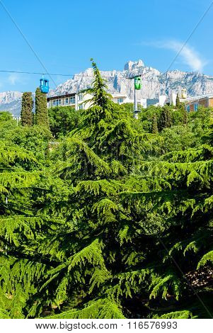 Beautiful Views Of The Mountains And Ropeway