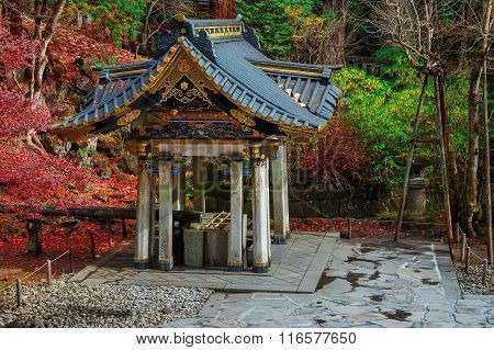 Chuzuya (or Temizuya) purification area at Taiyuinbyo - the Mausoleum of Shogun Tokugawa Iemitsu in Nikko, Japan poster