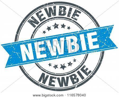 newbie blue round grunge vintage ribbon stamp