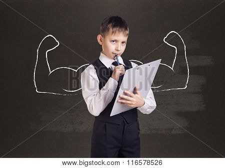 Little boy with drawn powerful hands