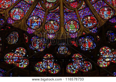 South Rose Window Jesus Christ Stained Glass Notre Dame Cathedral Paris France