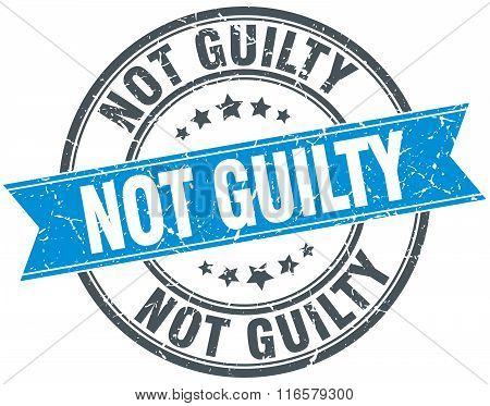 not guilty blue round grunge vintage ribbon stamp