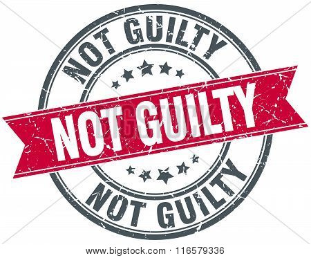 not guilty red round grunge vintage ribbon stamp