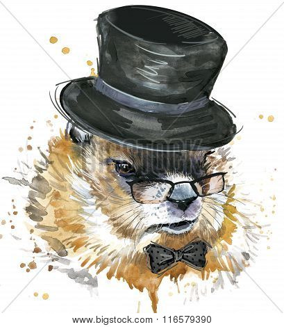 Marmot watercolor. Groundhog Day. Watercolor woodchuck illustration