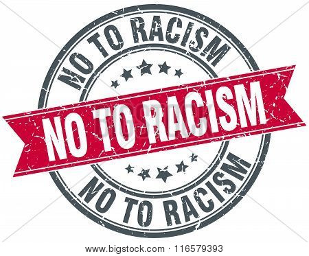no to racism red round grunge vintage ribbon stamp