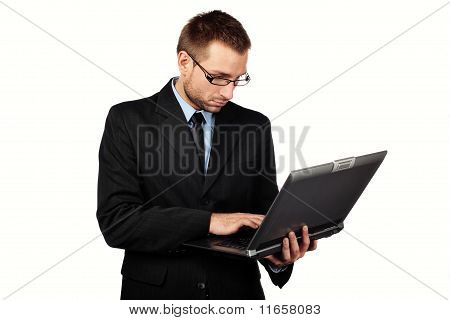 Isolated Businessman With Laptop