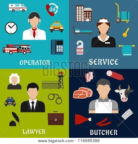 Phone operator, lawyer, maid and butcher icons