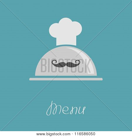 Silver Platter Cloche Chef Hat With Curl Moustache. Menu Card. Flat Design.