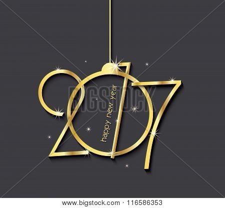 2017 Happy New Year Creative Background Design For Your Greetings Card, Flyers, Invitation, Posters,