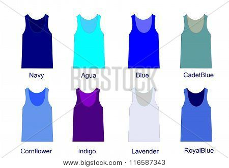 Fashion palette of blue  color shirts vector  illustration