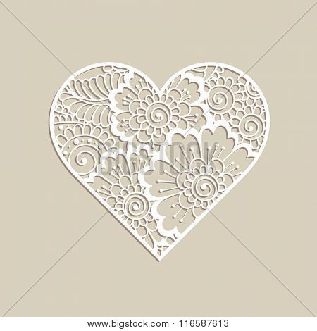 Heart shape with hand drawn floral ornament. Love concept for Valentines Day or Wedding design.