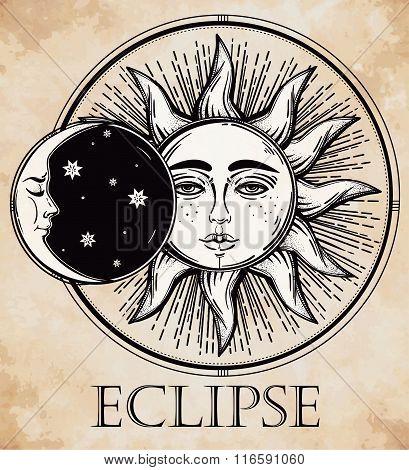 Vintage hand drawn sun eclipse .