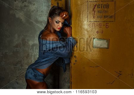 Girl With Sports Figure Near The Electrical Panel.