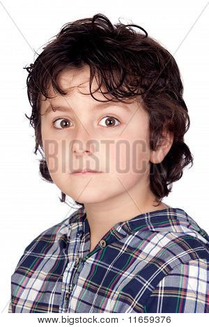 Scared Child With Plaid T-shirt