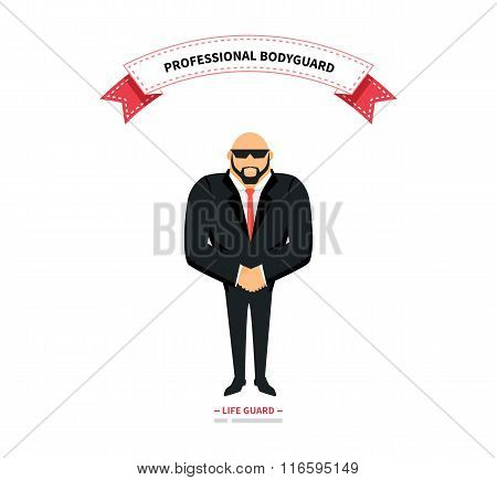 Bodyguards team people group flat style. Security and security guards, security man, secret service, protection and professional teamwork illustration. Professional bodyguard. Life guard poster