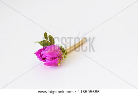 Spring purple tulip buttonhole for groom
