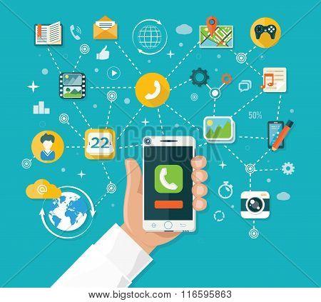 Smartphone Functions Design Flat