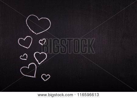 Hearts On A Blackboard  Valentine's Day