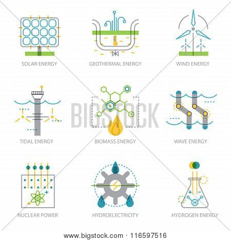 Trendy linear design set of icons on electricity generation plants.