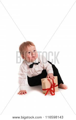 Baby Boy Gentleman Suit And Tie Butterfly On White Background