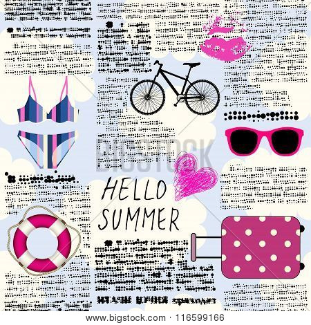 Imitation of newspaper Hello summer