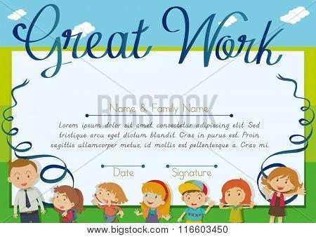 Certificate design with children and teacher background illustration
