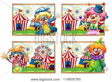 Four photo frame of clowns at the circus illustration