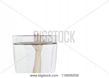 Drowning in a glass of water concept