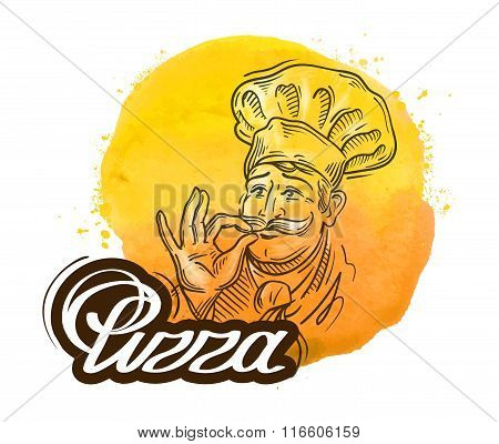 pizza vector logo design template. cook, chef or menu, restaurant icon