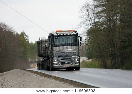 Volvo FH16 650 Combination Truck on Rural Road
