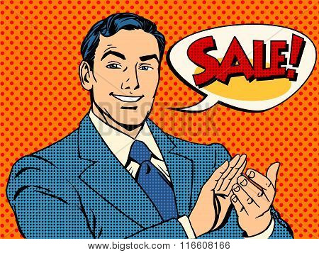Businessman sale applause